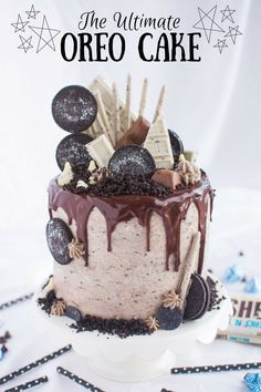 Moist layers of Oreo-infused chocolate cake filled with fluffy cookies n' creme mousse and frosted in creamy Oreo buttercream! Triple the Oreo, triple the deliciousness! Oreo Cookie Cake, Chocolate Oreo Cake, German Chocolate, Cookies And Cream Cake, Oreo Mousse, Oreo Cake Recipes, Cheesecake Desserts, Raspberry Cheesecake, Pumpkin Cheesecake