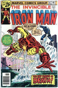 Iron Man 87 vs The Blizzard 1976 Marvel Comics Marvel Comic Books, Comic Books Art, Comic Art, Book Art, Marvel Characters, Marvel Heroes, Marvel Dc, Defenders Marvel, Book Characters