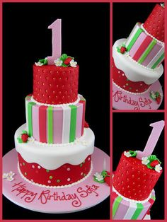 Strawberry Shortcake 1st birthday cake