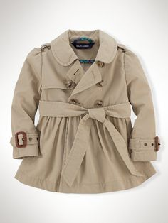 Ralph Lauren Classic Full-Skirt Trench Coat - Infant Girl (9M–24M)