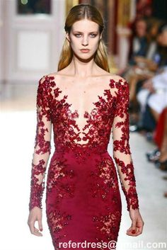 Burgundy Lace Long Sleeves V Neck Lace Appliques Beaded Chiffon Evening Dresses