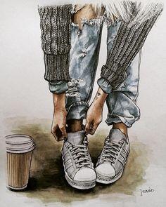 Cute Girl Drawing, Fashion Wall Art, Color Pencil Art, Shoe Art, Anime Art Girl, Digital Art Girl, Fashion Sketches, Cartoon Art, Watercolor Art