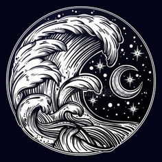 Image result for moon and water tattoo