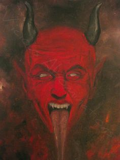 """BIZARRE DEVIL evil HELL original OIL painting 12"""" x 16"""" signed WICKED COOL 666"""