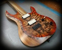 Kiesel Guitars Carvin Guitars  A6H (Aries Series) with an incredible burl maple top, walnut body in orange Caliburst ad atin finish,