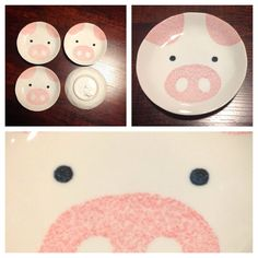 $22.97 Kawaii Set Of 4 Porcelain Pig Appetizer Plates