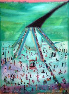 """""""La hoguera de las vanidades """", acrylic on canvas, 97 x 130 cm., year 2007"""