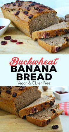 Buckwheat Banana Bread (Vegan, Gluten & Sugar Free) - New Ideas Banana Bread Brownies, Flours Banana Bread, Gluten Free Banana Bread, Vegan Banana Bread, Easy Banana Bread, Vegan Bread, Banana Bread Recipes, Gluten Free Baking, Vegan Gluten Free