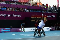 Stephane Houdet of France in action against Shingo Kunieda of Japan in the Mens Wheelchair Gold Medal match on day 10 of the London 2012 Paralympic Games at Eton Manor on September 8, 2012 in London, England. (Photo by Dean Mouhtaropoulos/Getty Images)
