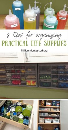 8 Tips for Organizing Practical Life Supplies – Trillium Montessori - Eloise Davidson What Is Montessori, Montessori Practical Life, Montessori Preschool, Montessori Education, Montessori Materials, Preschool Learning, Preschool Ideas, Classroom Organization, Organizing