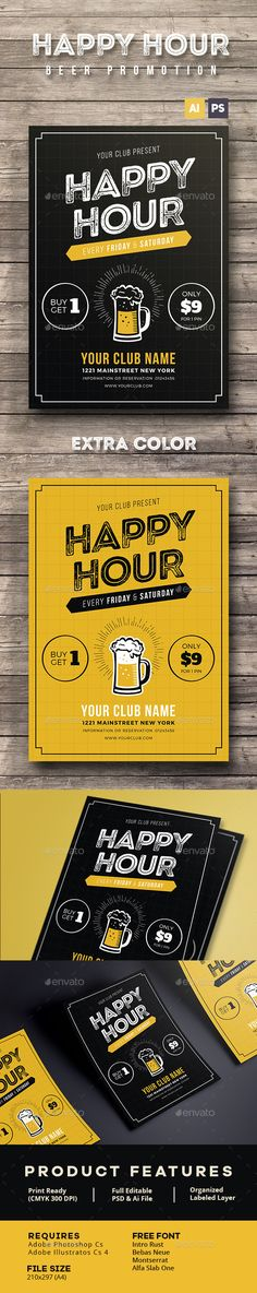 Happy Hour Beer Promotion Flyer / Poster Template PSD, AI Illustrator. Download here: http://graphicriver.net/item/happy-hour-beer-promotion-flyer-poster/16267985?ref=ksioks