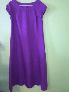KLEEN 100% Linen Tunic Dress PURPLE Size M TENT LAGENLOOK SS Long #Kleen #TunicDress #Casual