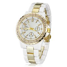 Diamante Ouro Dial plástico Band Quartz relógio de pulso analógico de Mulheres (Gold) – EUR € 9.90