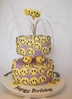 smiley faces cake by Jill The Cakemaker, via Flickr