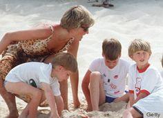Princess Diana with Princes William and Harry