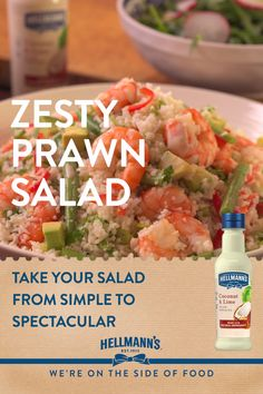 We had to share this great freshly cooked prawn salad, it would be shellfish not to! Zesty, zingy juicy prawns oozing with flavour, try this at home, it only takes 10 min and tastes great. This salad is made even better when drizzled with new Hellmann's Coconut & Lime Salad Dressing. Yum Yum!