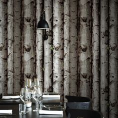 3D Tree Wood Wallpaper Roll For Walls PVC Wall paper wood wall 3d dining room background Vintage Style Gray Brown