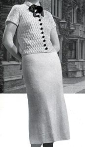 Campus 2 Piece Velveen Suit knit pattern from Minerva Styles the Future, originally published by Minerva Yarns, Volume No. 45, in 1936.