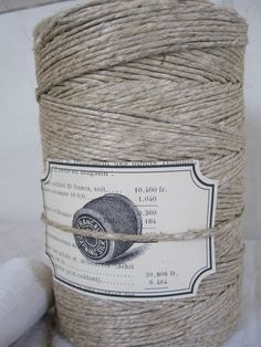 heavenly jute + a lovely label to boot. Fibre Textile, Woven Chair, Taking Shape, Thread Spools, Creative Thinking, Sewing Notions, Neutral, Band, Natural Linen