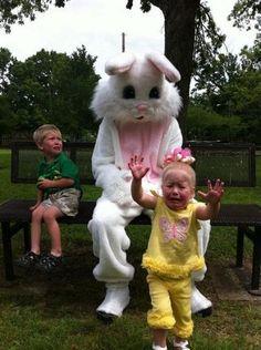 Creepy Easter Bunny   Mom... We don't like the creepy Easter Bunny! lol (20 pics)