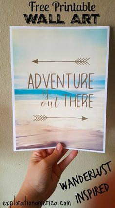 FREE Printable Travel Wall Art home decor - Adventure is Out There. LOVE the gorgeous rustic wanderlust home decor she made out of this!!