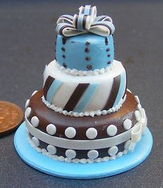 1:12 Scale Blue & Brown 3 Tier Wedding Cake Dolls House Miniature Accessory T | eBay