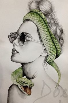Drawing of woman wearing sunglasses & a green snake wrapped around her head art
