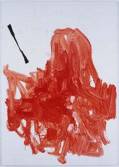 Red abstract with cloth on prepared canvas, 2006  Wood, cloth, oil and wax on canvas  182.5 x 127cm