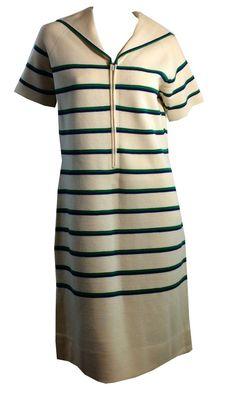 Sailor Collar Green and Blue Striped Ivory Italian Wool Dress circa 1960s