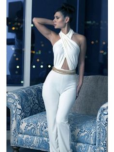 Ladies Crossover Neck All White Jumpsuit  $23.95 http://www.sensationofnight.com/ladies-crossover-neck-all-white-jumpsuit-6296.html