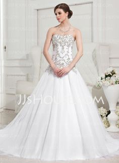 Wedding Dresses - $186.59 - Ball-Gown Sweetheart Cathedral Train Satin Tulle Wedding Dress With Embroidery Beadwork (002012752) http://jjshouse.com/Ball-Gown-Sweetheart-Cathedral-Train-Satin-Tulle-Wedding-Dress-With-Embroidery-Beadwork-002012752-g12752