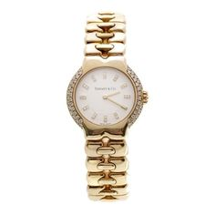 Pre-Owned Tiffany & Co. 18K Yellow Gold Diamond Tesoro Women's Watch (466.495 RUB) ❤ liked on Polyvore featuring jewelry, watches, gold, 18 karat gold jewelry, yellow gold watches, 18 karat gold watches, bezel watches and tiffany & co jewelry