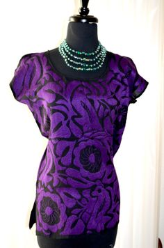 Vibrant Purple Mexican Hand Embroidered Blouse / by Vtgantiques, $87.00