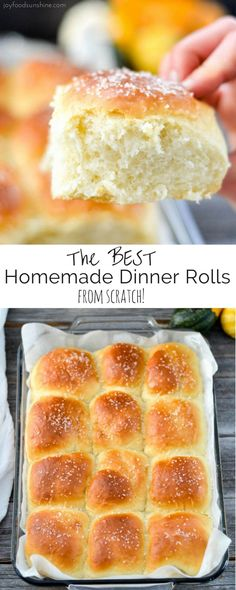 This Homemade Dinner Rolls recipe turns out perfect every time. Dense yet fluffy, slightly sweet and salty, and irresistibly buttery! The only homemade roll recipe you will ever need! via @joyfoodsunshine