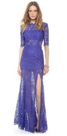 vestido azul longo renda com fenda