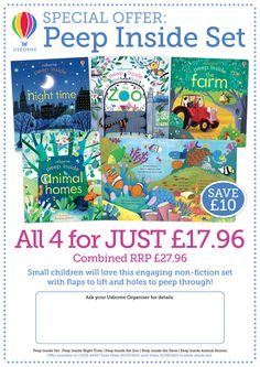 A great special offer from Usborne for your little ones! Four books from our really popular 'Peep inside' range for only £17.96, saving £10 on the RRP.