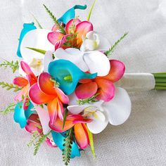 Wedding Coral Orange and Turquoise Teal Natural Touch Orchids, Callas and Plumerias Silk Flower Bride Bouquet on Etsy, $135.00