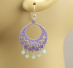 Gypsy Chandelier Earrings Lavender Dangle by singingcatstudio, $28.00