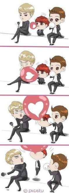 Aaaahhhhhhh this is SO CUTE I'm gonna die! DO looks like a little kid compared to kris and chanyeol!