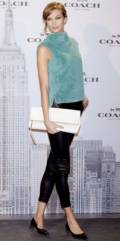 SO obsessed with Karlie Kloss' look // Get her head-to-toe Coach look with our guide