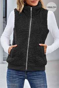 Winter Style // Stay cozy in this cold weather by adding this black casual sherpa zip closure fleece vest to your look. Collar Designs, Fleece Vest, High Collar, Vest Jacket, Zip Ups, Winter Fashion, Warm, Lauren Conrad, Bra Sizes