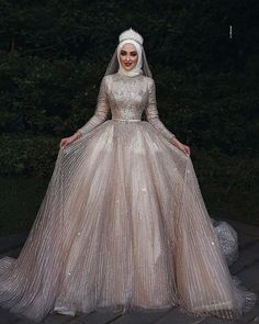 It's YiiYa Wedding Dress O-neck Long Sleeve Bridal Dresses Elegant Plus Size Robe De Mariee Muslim Wedding Ball Gowns - Fashion Muslim Wedding Gown, Arabic Wedding Dresses, Muslimah Wedding Dress, Arab Wedding, Muslim Wedding Dresses, Bridal Dresses, Elegant Wedding, Gothic Wedding, Muslim Gown