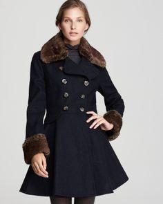 Laundry by Shelli Segal Faux Fur Trim Skirted Coat | Bloomingdale's