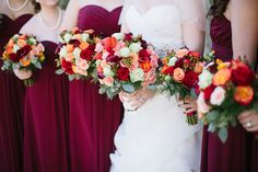 Autumn Wedding | Maroon Bridesmaids Dresses & Gorgeous Bouquets