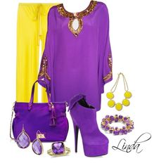 Yellow & Purple by littlelinda03 on Polyvore