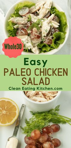 When you need a quick lunch you should make this easy Dairy-Free & Paleo Chicken Salad that is also It's healthy anddelicious. When you need a quick lunch you should make this easy Dairy-Free & Paleo Chicken Salad that is also It's healthy anddelicious. Paleo Recipes Easy, Whole 30 Recipes, Real Food Recipes, Free Recipes, Clean Eating Chicken, Clean Eating Recipes, Healthy Eating, Whole30 Chicken Salad, Chicken Salad Recipes
