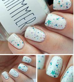 White colors sparkle nails