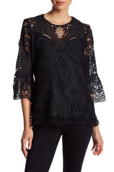 3/4 Sleeve Lace Knit Blouse by Ro & De on @nordstrom_rack