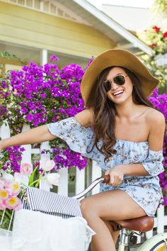 Demi Blue Floral Off Shoulder Romper by Everly