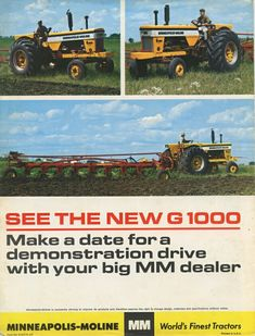 1965 Minneapolis Moline G1000 Brochure Vintage Tractors, Vintage Farm, Agriculture Tractor, Farming, Minneapolis Moline, Brochures, Farm Life, Vintage Posters, Magazines
